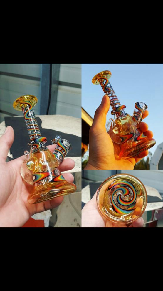 AleyCat Glass Wig Wag Rainbow Tube #2