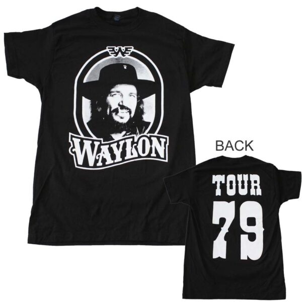 Waylon Jennings Tour 79 Black T-Shirt